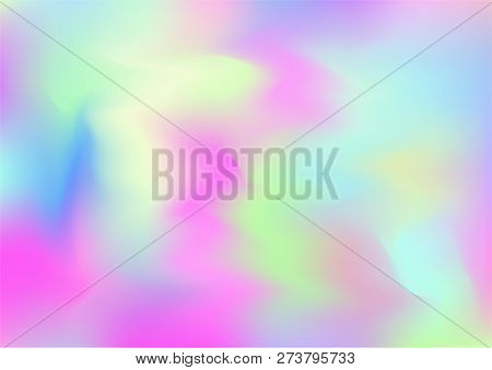 Hologram Magic Dreamy Vector Background. Gradient Design, Holographic Rainbow Girlie Iridescent Wave