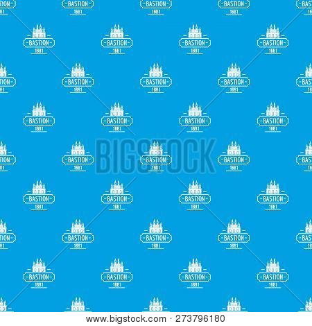 Royal Bastion Pattern Vector Seamless Blue Repeat For Any Use