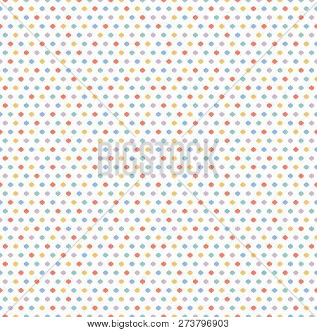 Cute Funky Vector Seamless Pattern. Vector Geometric Texture With Little Colorful Dots, Confetti On