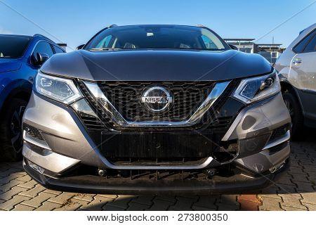 Prague, Czech Republic - December 13 2018: Nissan Motor Company Cars Standing In Front Of Dealership