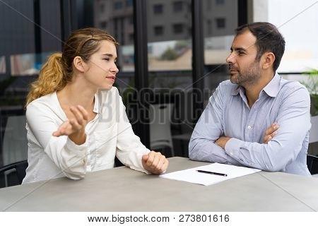 Confident Female Candidate Meeting With Company Leader. Business Man And Woman Negotiating At Outdoo