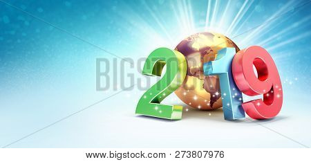 2019 New Year Colorful Date Number Composed With A Gold Planet Earth, Focused On America, Shining St