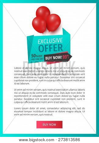 Exclusive Offer 50 Percents Buy Now, Web Page Template Vector. Balloons And Ribbons With Proposition