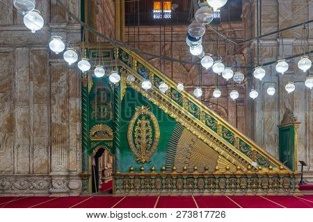 Cairo, Egypt - December 2 2018: Decorated Alabaster (marble) Wall With Green Wooden Platform (minbar