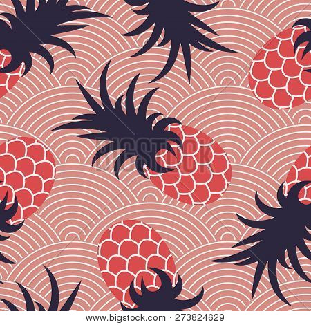Seamless Summer Pattern. Pineapples On A Wavy Coral Background. Print For Textiles. Vector Illustrat