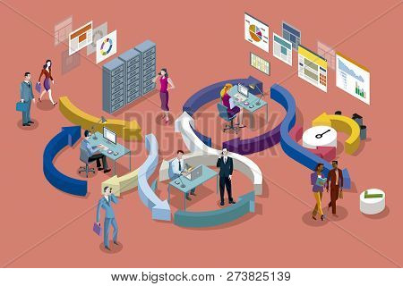 Isometric Vector Concept Illustration . Agile Development Workflow Method. Isometric View Of Develop