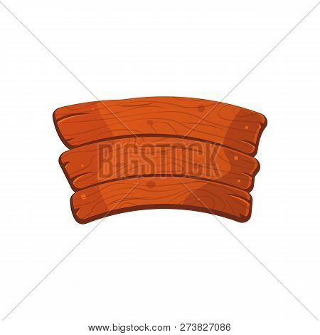 Cartoon Wood Sign Board With Three Boards. Old West Wood Plank. Welcome Board. Plank For Banners Or
