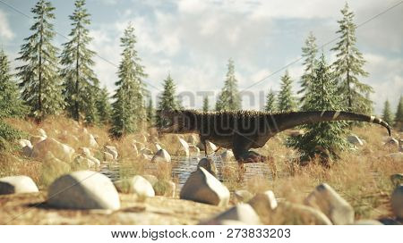 3d rendering of the roaring tyrannosaurus in the conifer grove
