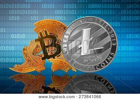 Litecoin Coin Stands In Front Of Cracked Coin Bitcoin On Binary Code Background; Litecoin Leader; Bi