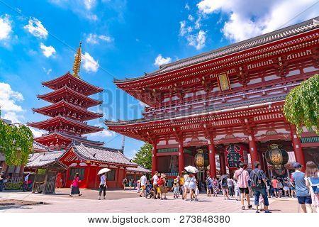 Asakusa, Tokyo, Japan - March 28, 2018 : Sensoji Temple At Asakusa.the Sensoji Temple In Asakusa Are