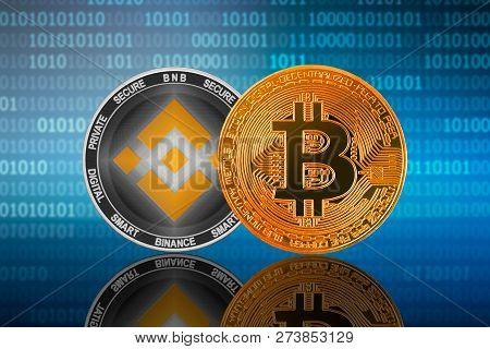 Bitcoin (btc) And Binance Coin (bnb) On The Binary Code Background; Bitcoin Vs Binance