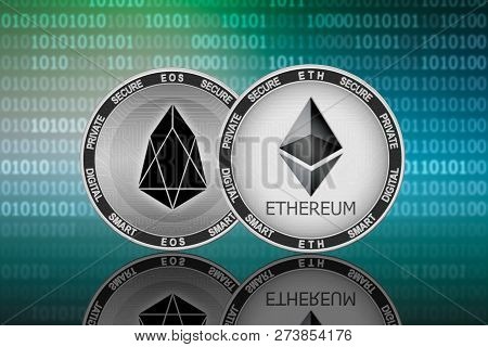 Ethereum (eth) And Eos (eos) Coins On The Binary Code Background; Ethereum Vs Eos