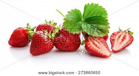 Berry strawberry with green leaf Fruity still life, isolated on white background. poster