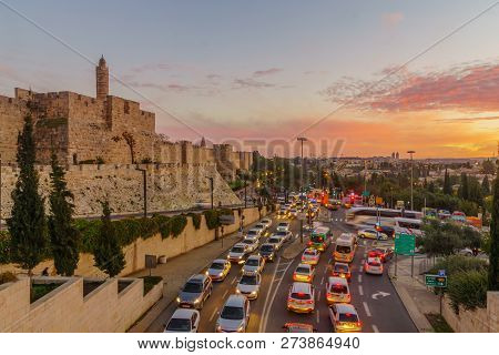 Jerusalem, Israel - December 09, 2018: Sunset View Of The Old City Walls, And The Tower Of David, Wi