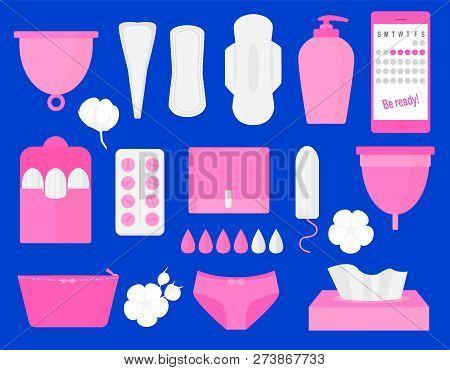 Woman Hygiene Products - Tampon, Menstrual Cup, Sanitary, Pills. Vector Flat Big Illustration Set.