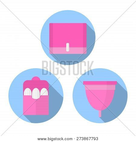Icon Flat Vector Set. Woman Hygiene Products - Tampon, Menstrual Cup, Sanitary.