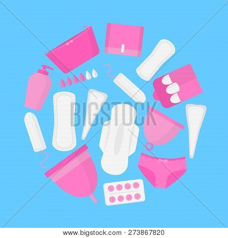 Round Set Female Hygiene Products In Menstruation Time. Vector Flat.