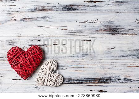 Background With Hearts, Valentine. Valentine's Day. Love. Wicker Hearts. Romantic Photo. Place For T