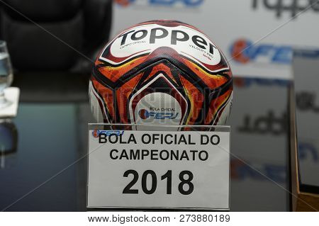 Rio, Brazil - December 12, 2018: Ball Of The Championship Carioca 2018 On Display At The Launch Of T
