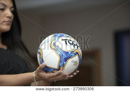 Rio, Brazil - December 12, 2018: Ball Of The Championship Carioca 2019 On Display At The Launch Of T