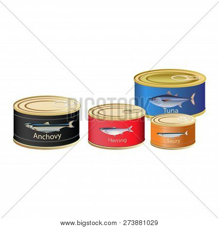 Canned Fish. Vector Illustration Isolated On White Background