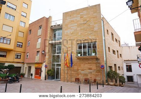 Calpe, Alicante, Spain - March, 2018: Townhall Street