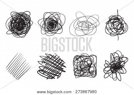 Tangled Shapes On White. Chaos Pattern. Scribble Sketch. Background With Array Of Lines. Intricate C
