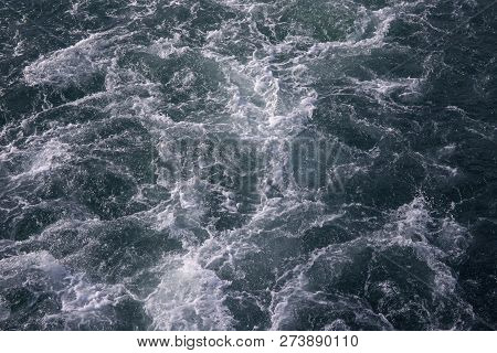 White Foamy Wave Of Oceanic Ship Trail. Deep Ocean Waters Top View. Marine Travel Banner. Motorboat