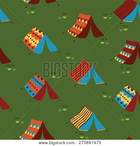 Camping Tents Seamless Vector Pattern Background. Meadow With Hand Drawn Boho Tents. Camping Collect