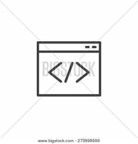 Web Browser Coding Outline Icon. Linear Style Sign For Mobile Concept And Web Design. Programming, C