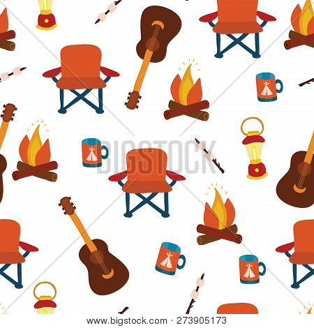 Camping Seamless Vector Pattern Background. Outdoor Equipment. Folding Chair, Marshmallow, Lantern,