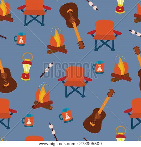 Camping Gadgets Seamless Vector Pattern Background. Outdoor Equipment. Folding Chair, Marshmallow, L