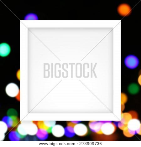 Empty White Frame Template On Colors Bokeh Lights Gradient Colorful Soft, White Rectangle Frame Blan