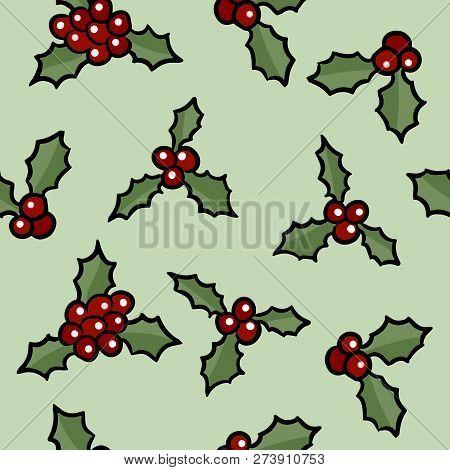 Christmas Holly Cartoon.Christmas Holly Berry Vector Photo Free Trial Bigstock