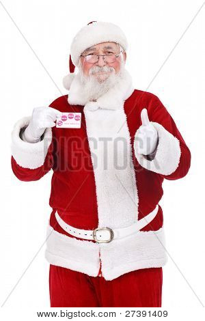 authentic Santa Claus showing credit card, Christmas budget,  isolated on white background