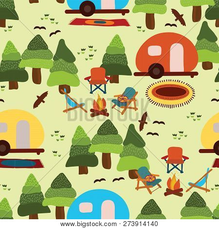 Camping Seamless Vector Pattern Caravan, Camping Chairs, Fire Place, Rugs, Trees, Birds On A Light G