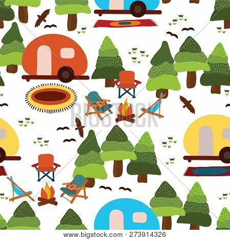 Camping Seamless Vector Pattern Caravan, Camping Chairs, Fire Place, Rugs, Trees, Birds On A White B