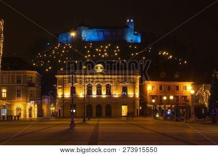 Ljubljana, Slovenia - December 18, 2017: Congress Square - Kongresni Trg - And View Of Ljubljana Cas