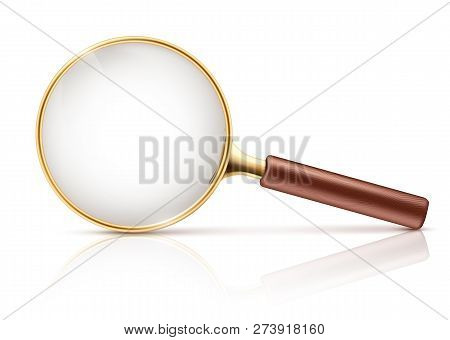 Vector 3d Realistic Magnifying Glass In Golden Rim, Brown Wooden Handle. Science Tool With Transpare