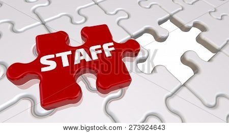 Staff. The Inscription On The Missing Element Of The Puzzle. Folded White Puzzles Elements And One R