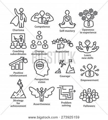 Business Management Line Icons Pack 45 Icons For Leadership, Career