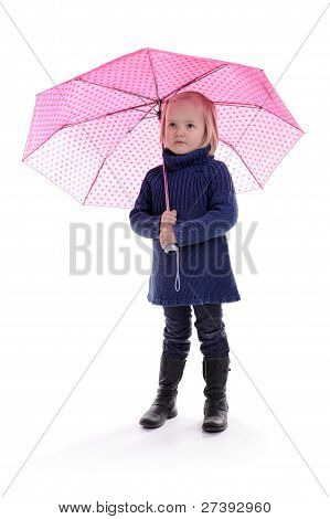 Little Girl Standing Under A Pink Umbrella