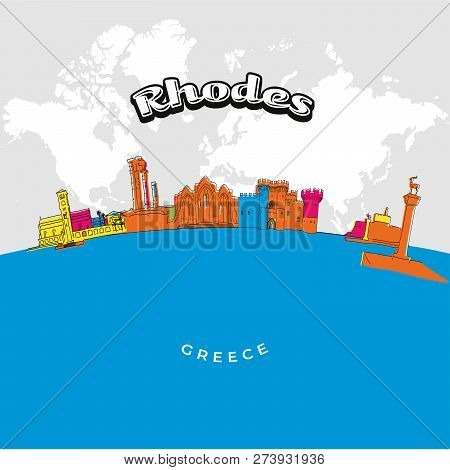 Rhodes Greece Colorful Panorama. Hand-drawn Vector Illustration. Famous Travel Destinations Series.