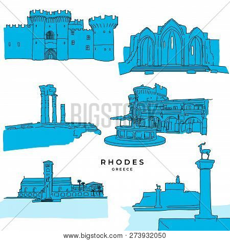 Rhodes Greece Landmarks Drawings Filled. Hand-drawn Vector Illustration. Famous Travel Destinations