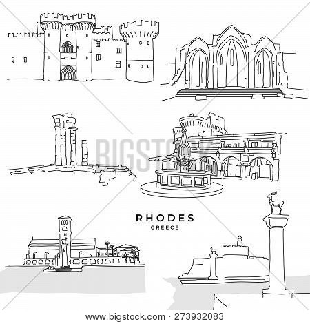 Rhodes Greece Landmarks Drawings. Hand-drawn Vector Illustration. Famous Travel Destinations Series.