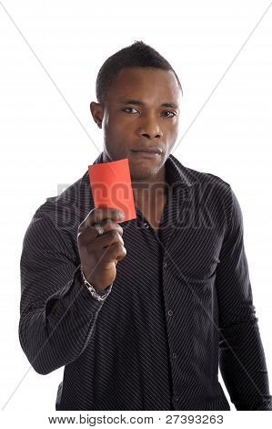 Young Afro American Man With Red Arbitrator Card