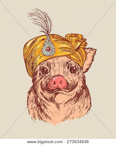 Hand Draw A Portrait Of A Ittle Pig In Fakir Turban With Feather. Vector Sketch Illustration. Symbol