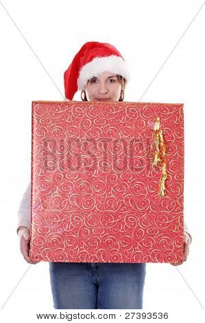 Young Woman With Christmas Presents & Hat