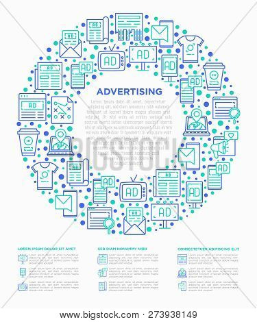 Advertising Concept In Circle With Thin Line Icons: Billboard, Street Ads, Newspaper, Magazine, Prod