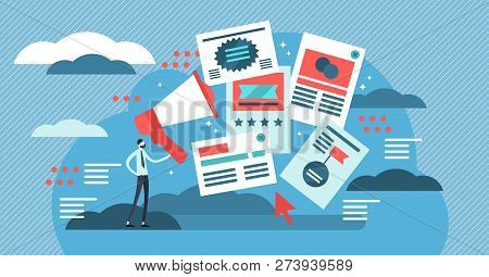 Flat Adverts Vector Illustration. Online Offer For Business Discount Campaign, Promo Or Publication.